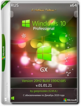 Windows 10 Pro x64 20H2.19042.685 GX v.01.01.21 (RUS/2021)